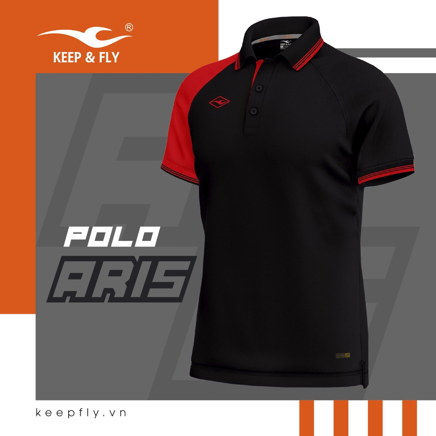 Polo aris đen keepfly